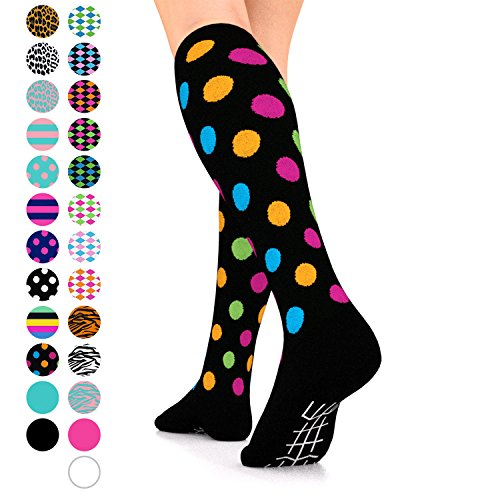 Go2Socks GO2 Compression Socks for Women Men Nurses Runners 15-20 mmHg (Medium) - Medical Stocking Maternity Travel - Best Performance Recovery Circulation Stamina (BlackMultiPolka,S)