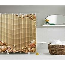 Sand Sea Shells Starfish Beach Digital Graphic Print Shower Curtain Set Non Vinyl Bath Tub Liner Waterproof Fabric Mildew Resistant Material Hooks Included Ocean Marine Theme Motif by ShowerGrfX