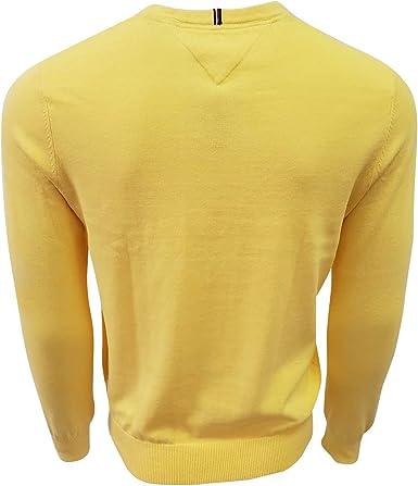 Tommy Hilfiger Homme Piment Rouge//à Rayures Bleu Marine Léger Ras Du Cou Pullover Sweater