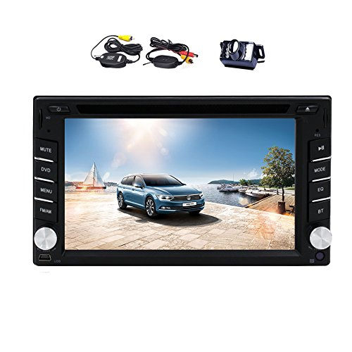 EinCar Double Din In Dash Headunit 6.2 Inch Touch Screen Car DVD Player GPS Navigation Car Radio Audio Systems Support iPod Bluetooth Steering Wheel Control+Wireless Parking Camera