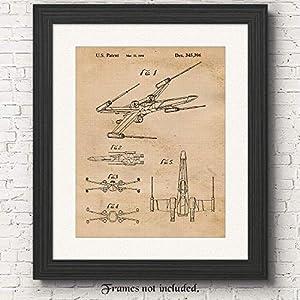 Vintage Star Wars X-Wing Starfighter Patent Art Poster Print, Set of 1 (11×14) Unframed Photo, Great Wall Art Decor…