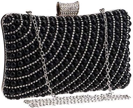 JIA JIA Mme Européenne Et Perles De Mode Américain Sac De Soirée Sac Banquet Holding A Noir Sac du Soir 20 * 6 * 12cm Brillant