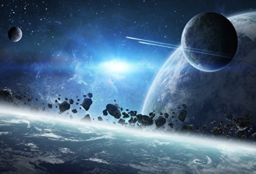 Laeacco Outer Space Moon Backdrop 10x6.5ft Spaceship Earth Planet Universe Astrona Exploration Astronomy Science Advanced Technology Studio Prop -