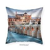 VROSELV Custom Cotton Linen Pillowcase Roman Bridge and Guadalquivir River Great Mosque Cordoba Spain - Fabric Home Decor 16''x16''