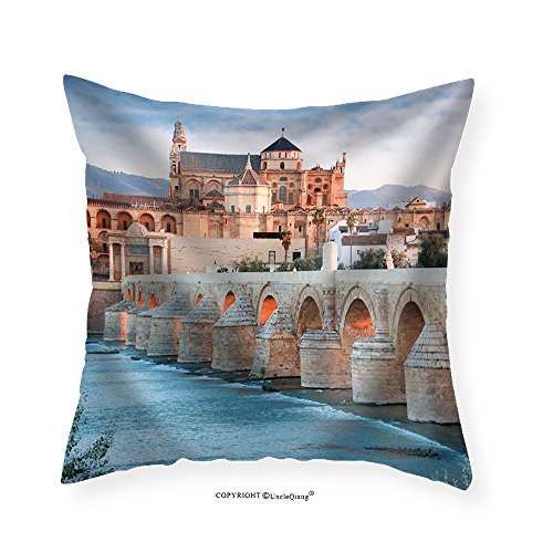 VROSELV Custom Cotton Linen Pillowcase Roman Bridge and Guadalquivir River Great Mosque Cordoba Spain - Fabric Home Decor 16''x16'' by VROSELV
