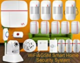 Eyes4u Wireless Wifi GSM SMS Android IOS APP Home Burglar Video Security Alarm System Detector with Ip Camera Medical Mergency Button and Smoke Sensor