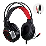 Mixcder Devil Professional Stereo Noise Isolation Music&Gaming Headphones Headset [Light Design] [Surround Sound] [USB 2.0 Enhanced Bass][40mm Dynamic Drivers]Earphones Earbuds with Mic, In-Line Volume Control,LED Lights for PC Computer Gamers (Black&Red)