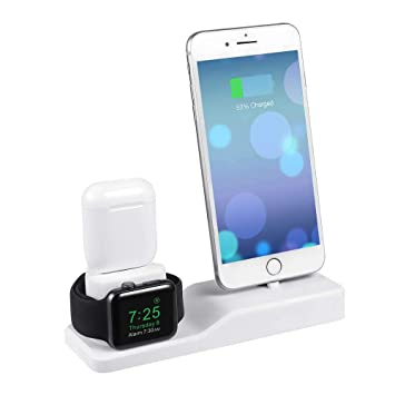 Soporte De Cargador 3 en 1 para iPhone AirPods Apple IWatch,Soporte de Carga Muelle Estación Silicona, Charging Stand Docks Holder para Apple Watch ...