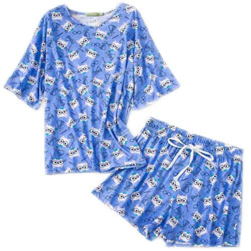 ENJOYNIGHT Women's Sleepwear Tops with Capri Pants Pajama Sets (Shorts-Cat, ()