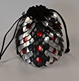 Dice Bag of Holding in knitted Dragonhide Scalemail Armor - Venemous size extra large to hold over 100 dice.