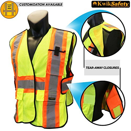 Breakaway Zipper (KwikSafety CAPITAL | Class 2 Breakaway Safety Vest | 360° High Visibility Reflective ANSI Complaint Work Wear | Men & Women Hi Vis Mesh 5 Point Adjustable Velcro Tear Away Vest | Yellow S/M)