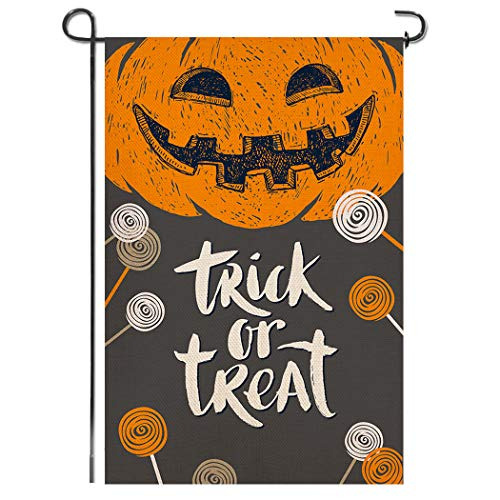 Everyday Is Halloween Trick Or Treat (Shmbada Trick or Treat Happy Halloween Burlap Garden Flag, Premium Material Double Sided, Welcome Seasonal Grimace Pumpkin Candy Outdoor Decorative Small Banner for Home Yard Porch, 12.5 x 18.5)