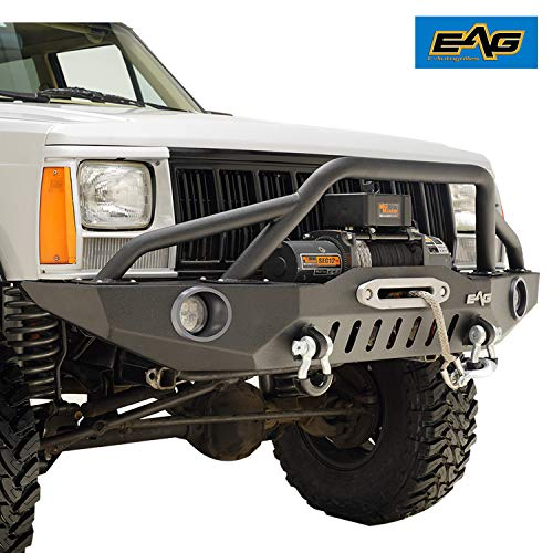 (EAG 83-01 Jeep Grand Cherokee XJ Offroad Front Bumper with Pre-Runner Hoop & 2 LED Lights and light frame)