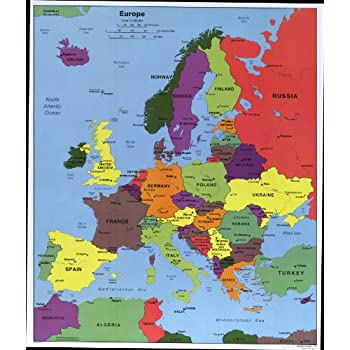 Amazon.com: Map Poster - Europe North Africa and the Middle East. - 24