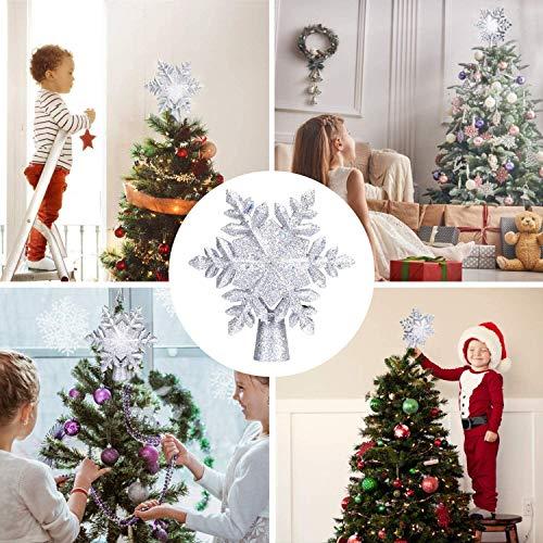 Etoile Sapin Noel avec Lampe Projecteur LED Flocon de Neige Blanc, 3D Rotation Etoile Sapin Noel De Lumineuse pour Decoration Arbre Topper de Noël, Prise EU