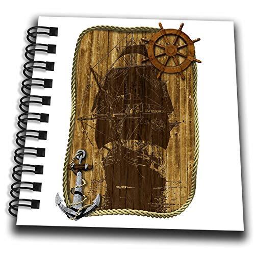 3dRose Macdonald Creative Studios – Nautical - A Classic Sailing Ship Nautical Design with Anchor and Helm. - Mini Notepad 4 x 4 inch (db_299296_3)
