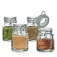 Mini Set of 4 Hexagon Glass Jars 3.38-oz, Bail & Trigger Locking Lids - Spice, Herb, Baby Food Storage and Display Containers Set