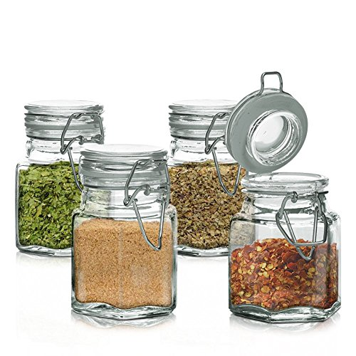 Mini Set of 4 Hexagon Glass Jars 3.38-oz, Bail & Trigger Locking Lids - Spice, Herb, Baby Food Storage and Display Containers Set (Small Glass Jars For Herbs compare prices)