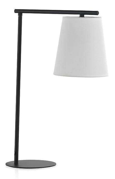 GEESE Lámpara de sobremesa, Base de Metal, tulipa Blanca, 15x28x46 ...