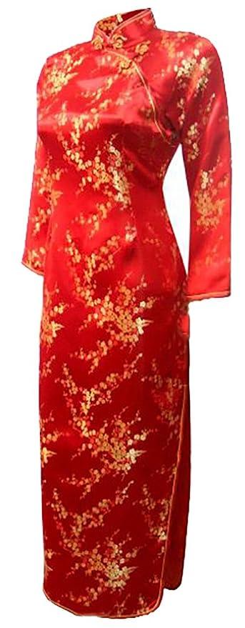 7Fairy Donna Rosso Matrimonio Cinese Abiti Cheongsam Floreale Maniche Lungo   Amazon.it  Abbigliamento 8ddb69ea830