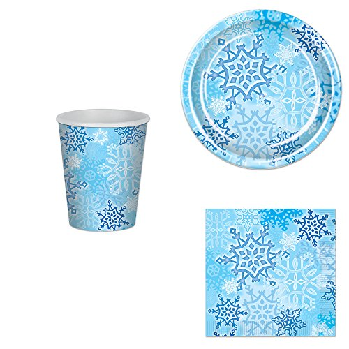 Snowflake Party Bundle for 16: Plates, Napkins and (Snowflake Plate)