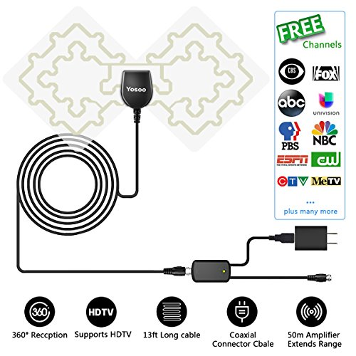 HDTV Antenna, Yosoo 1080P Transparent Digital TV Antenna 50 Mile Range with Detachable Amplifier Signal Booster - Transparent