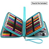 ADVcer 160 Slots Pencil Case - PU Leather Large Capacity Zipper Pen Bag with Hand Strap for Crayola Marco Colored Pencil, Prismacolor Watercolor Pencils, Gel Pen, Makeup Brush, Sharpener (Turquoise)