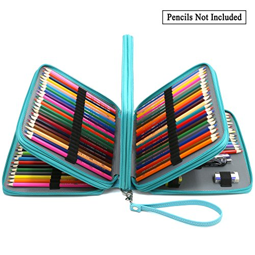 ADVcer 160 Slots Pencil Case - PU Leather Large Capacity Zip
