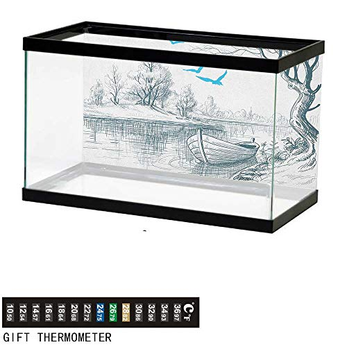 Jinguizi LandscapeFish Tank BackdropBoat on Calm River Trees Birds Twigs Sketch Drawing Clipart Water Minimalist24 L X 16