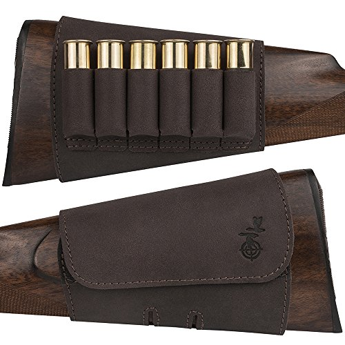 BronzeDog Hunting Buttstock Ammo Cartridge Holder Bag Pouch, Leather Rifle Stock Ammo...