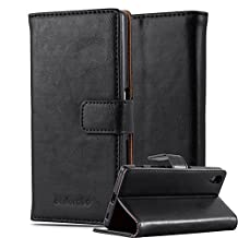 Cadorabo – Luxury Book Style Wallet Design Case for Sony Xperia Z5 with 2 Card Slots and Stand Function - Etui Case Cover Protection Pouch in GRAPHITE-BLACK