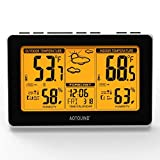 AOTOUIND Wireless Weather Station Clock with Indoor Outdoor Thermometer Hygrometer, Future Weather Forecast, Temperature Alerts