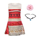Children Little Girls Digital Print Princess Moana Dress and Tone Pandent and Head Flower Set for Kids Custome Cosplay (150=US10)