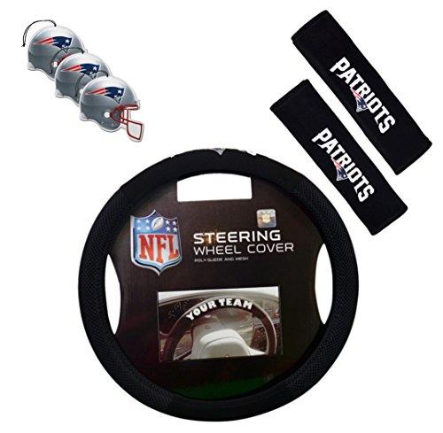 Official National Football League Fan Shop Authentic Auto Accessories Bundle (New England Patriots)
