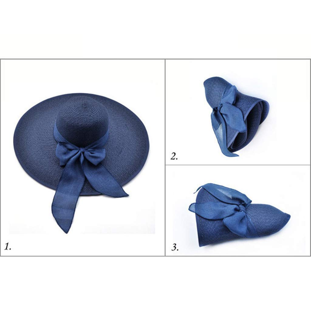 Women Big Brim Straw Hat Sun Floppy Wide Brim Hats New Bowknot Folding Beach Cap