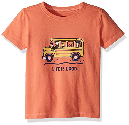 Life is good Toddler Crusher School Bus Friends Tee, Fresh Coral, (School Toddler Tee)