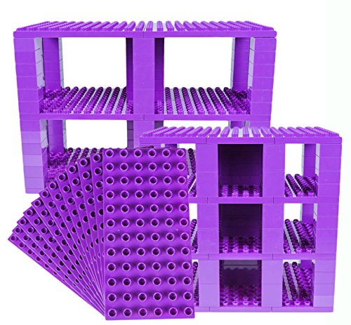 Strictly Briks Classic Big Briks 96 Piece Set 100% Compatible with All Major Brands   Tower Construction   Large Pegs for Toddlers   Ages 3+   Building Bricks & Baseplates   Purple