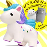 Squishies – Unicorn Gifts - Jumbo Squishies Slow Rising - Mochi Mini Squishy Toys - Sensory Fidget Toys – Soft and Slow Squishies pack - Kawaii Squishy Animal Stress Toys - Gold Toy Unicorn for Girls