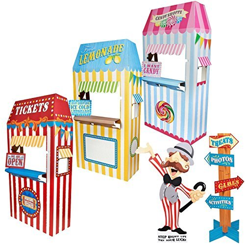 Carnival Games Room Decor - Standup Kit by BirthdayExpress (Carnival Man With Direction Sign)