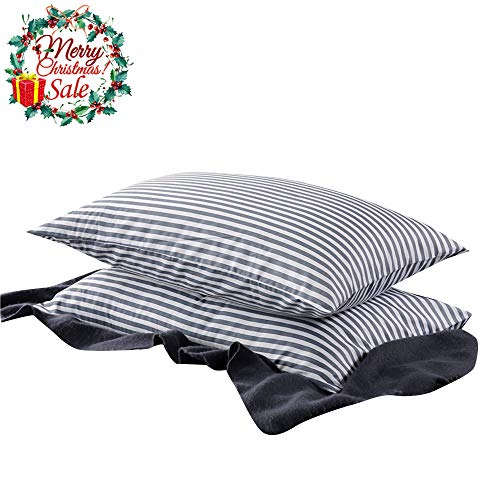 VM VOUGEMARKET Bedding Cotton Striped Pillowcases (Pack of 2),Standard Queen Pillow Covers with Envelope Closure End,20×26(Queen,Stripe)