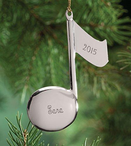 Personalized Silvertone Music Note (Music Ornaments)