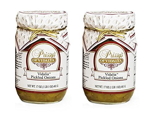 Prissy's of Vidalia Sweet Pickled Onions, 16 Oz (Pack of 2) Fat FREE, ALL Natural, No Preservative (Pickled Sweet Onions)
