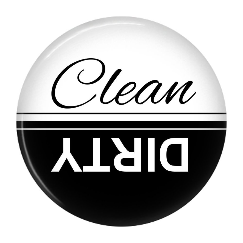 Clean Dirty Dishwasher Magnet Sign Indicator (Black White)