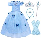 Jurebecia Cinderella Dress Girls Costume Butterfly Birthday Party Princess Cosplay Style1 8