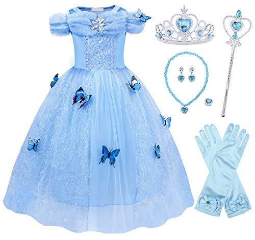 Cotrio Cinderella Costume Dress Girls Butterfly Princess Dresses Halloween Outfits with Accessories for 2-12Years (10, 9-10Years, Gloves, Tiara, Scepter, Necklace, Ring,Earrings) -