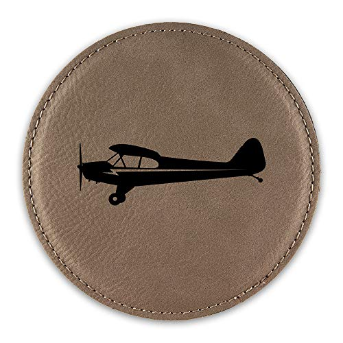Side View Piper J3 Cub Airplane Drink Coaster Leatherette Round Coasters plane - Light Brown - One Coaster