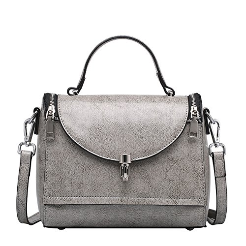 Hard Q0760 Handbags Grey Multiple Women Shoulder Pockets Bag Leather Dissa vAB7wxqx