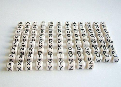 Lot of 93 Ceramic Beads Cube Letters 9mm Black. Alphabet A-z