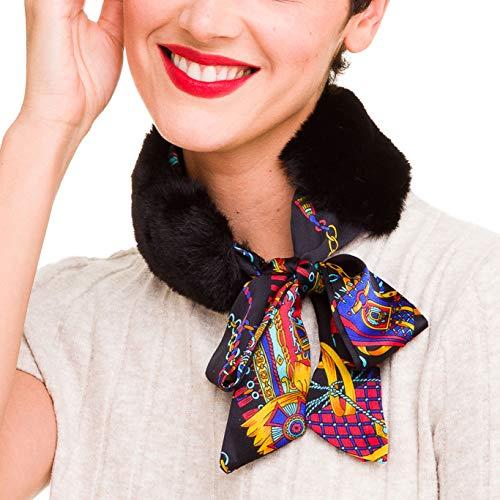 Fur Neck Scarf - Fur Collar Scarf for Women Faux Fur Scarves Neck Shrug for Winter Coat Dress (Double Black)