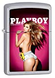 Zippo Lighter: Playboy Cover April 2014 - Satin Chrome 77973